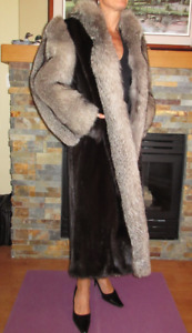 Luxury Women's Fur Coat Mink and Silver Fox