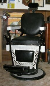 Rare and Old Louis Hnson Barber Chair, Pole and Cash Register