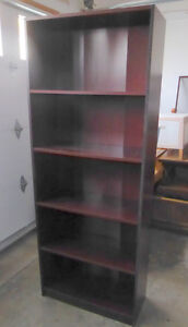 3 cherry-brown tall bookcases $ 35 ea