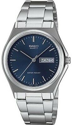 Casio MTP1240D-2A Mens Stainless Steel Casual Analog Dress Watch Blue Dial NEW