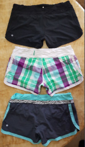 THREE LULULEMON RUNNING SHORTS