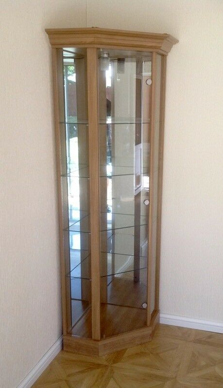 Wood Effect Glass Corner Display Cabinet. Very Good Condition.