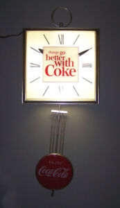 """Coca-Cola 1960's """"things go better with Coke"""" Light-up Clock"""