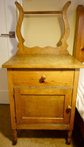 Antique Pine Wash Stand Table with Cupboard