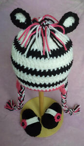 Zebra Cuteness 6-12 Month Hat and Bootie Set