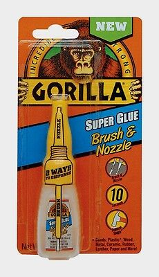 New Gorilla Super Glue .35oz Brush Nozzle High Strength Dries Clear 7500102