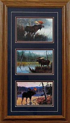 His Domain - Les Kouba Surveying His Domain Moose Trilogy-Framed 14 x 24