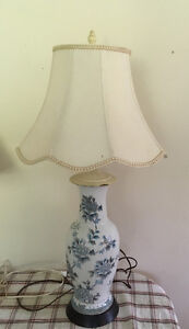 2 vtg porcelain lamps with shades