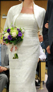 Ivory Satin and Lace Wedding Dress & Bolero Kitchener / Waterloo Kitchener Area image 2