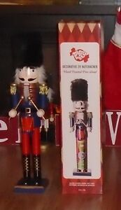 "REAL PINE WOOD HAND PAINTED CHRISTMAS NUTCRACKER 24"" TALL"