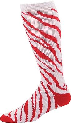 Pizzazz 8090AP Red and White Medium Zebra Striped Knee High Socks ](Red And White Striped Knee Socks)