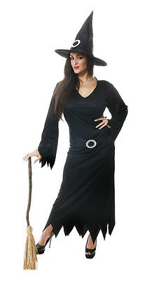 ADULT LADIES BLACK WITCH HALLOWEEN FANCY DRESS COSTUME IN STANDARD AND PLUS SIZE