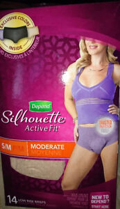 Depends active fit silhouette breifs s /m moderate absorbency