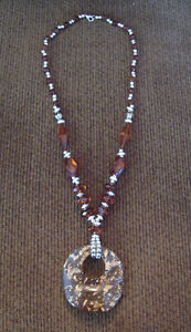 Amber Lucite Necklace & Pendant
