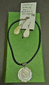 Vintage Style Leather Necklace Mother of Pearl Pendant/Earrings
