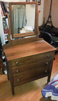 Solid wood dresser and mirror, must pickup