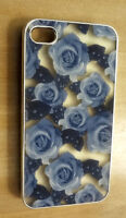 NEW IPHONE 4/ 4S BACK COVER CASE, SEE THRU BLUE FLORAL PRINT