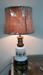 Antique Table Lamp Hand Painted Glass