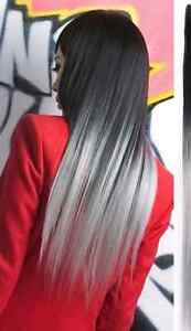Clip in extensions black ombre gray by fairview mall