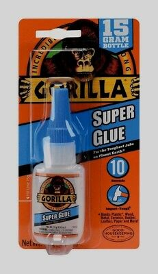Gorilla Super Glue Gel Clear 10 Seconds Impact Tough Strong Fast .53oz New