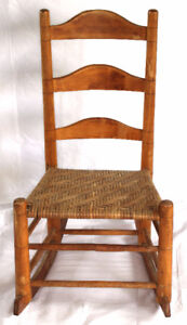 Ladder Back Cane Seat Child's Rocking Chair