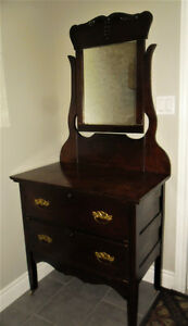 Antique Dresser with Original Mirror and Handles
