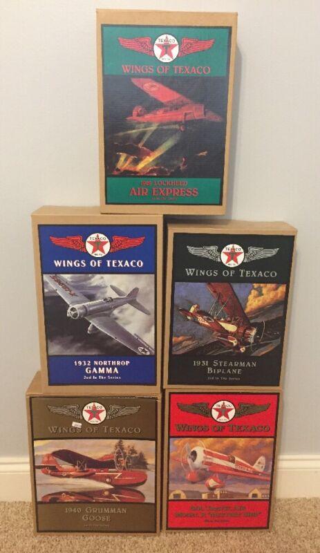 Lot of 5 Wings of Texaco Diecast Metal Coin Banks #1-5 in Series