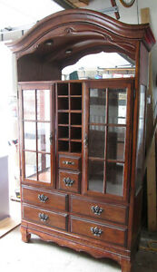 Moving- Beautiful China and wine display Hutch Cabinet.