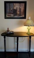 Black sofa table.