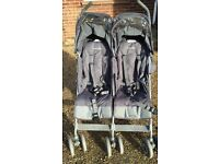 Maclaren Twin Techno Double Buggy Pushchair with Footmuffs