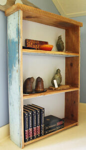 BOOK CASE, HAND CRAFTED, RECLAIMED WOOD AND BARN BOARD