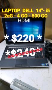 "LAPTOP DELL 14"" - i5 2eG -4 GO -500GO+ HDMI"