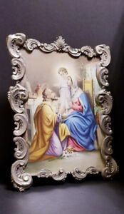 Vintage Religious Baroque Tin Metal Frame Holy Family Print