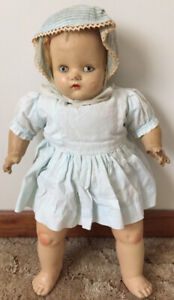 1940's Vintage Composition Doll & Crib