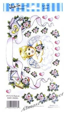 Baby Angel E-Z Rub-On Transfers Sheet (Decals) Cherub & Roses ~ New