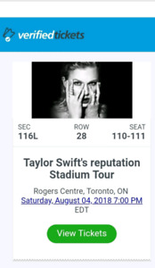 Two tickets to Taylor Swift concert August 4, 2018