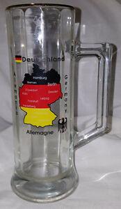 GERMAN GLASS BEER STEIN MUG TALL LONG ALLEMAGNE BARWARE GERMANY