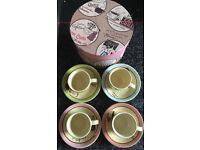 Cafe Paris style Espresso cups & Saucers x4