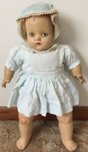 Vintage 1940's Composition Doll & Crib