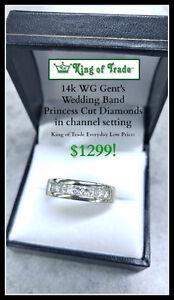 Men's Princess Cut Diamond Wedding Band - King of Trade!