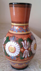 "Vintage hand made and paint Red Clay porttery vase, 8"" tall"