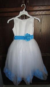Girls white/light blue fancy dress in size 8