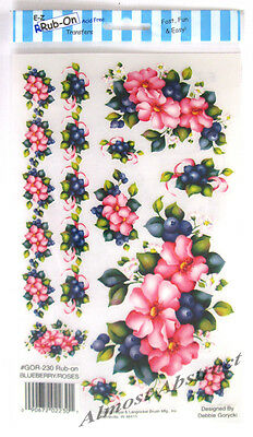 Blueberry & Roses E-Z Rub-On Transfers Sheet (Decals) ~ New