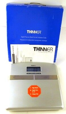 Thinner Digital Precision Body Fat & Hydration Scale Chrome V17083 Tested