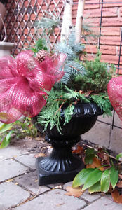 Vintage Christmas Planters / Urns