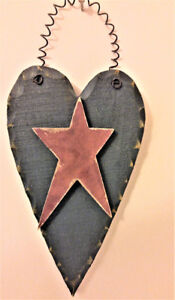 BLUE TOLE-PAINTED HEART WITH BURGUNDY STAR