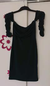Pretty Little Thing ruched Bardot Bodycon Dress