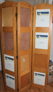 oak folding divider, holds pictures