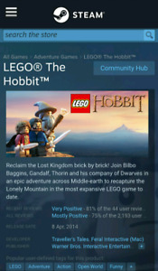 Jeu PC Lego hobbit steam neuf 10$ Nintendo game ds