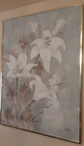 ORIGINAL OIL PAINTING WHITE LILIES